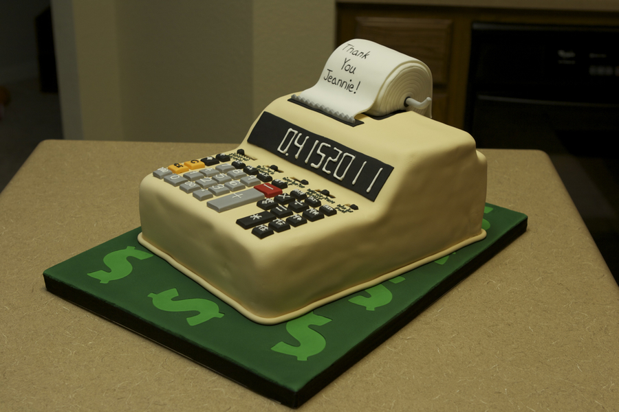 Calculator Cake For The Lovely Cpa That Does Our Ta Snickerdoodle With Cinnamon Ercream Covered And Decorated Fondant Royal Icing