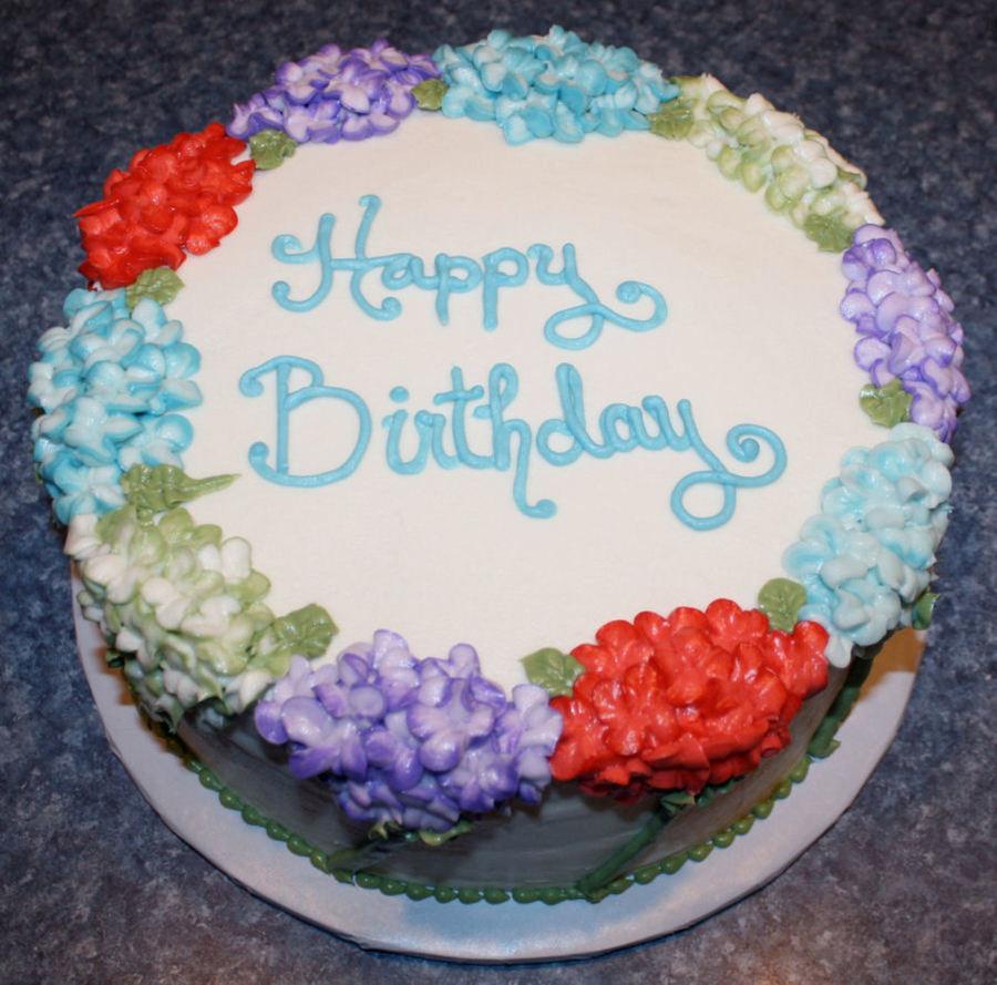 Cake Decorating Hydrangea Flowers : Hydrangea Birthday Cake - CakeCentral.com