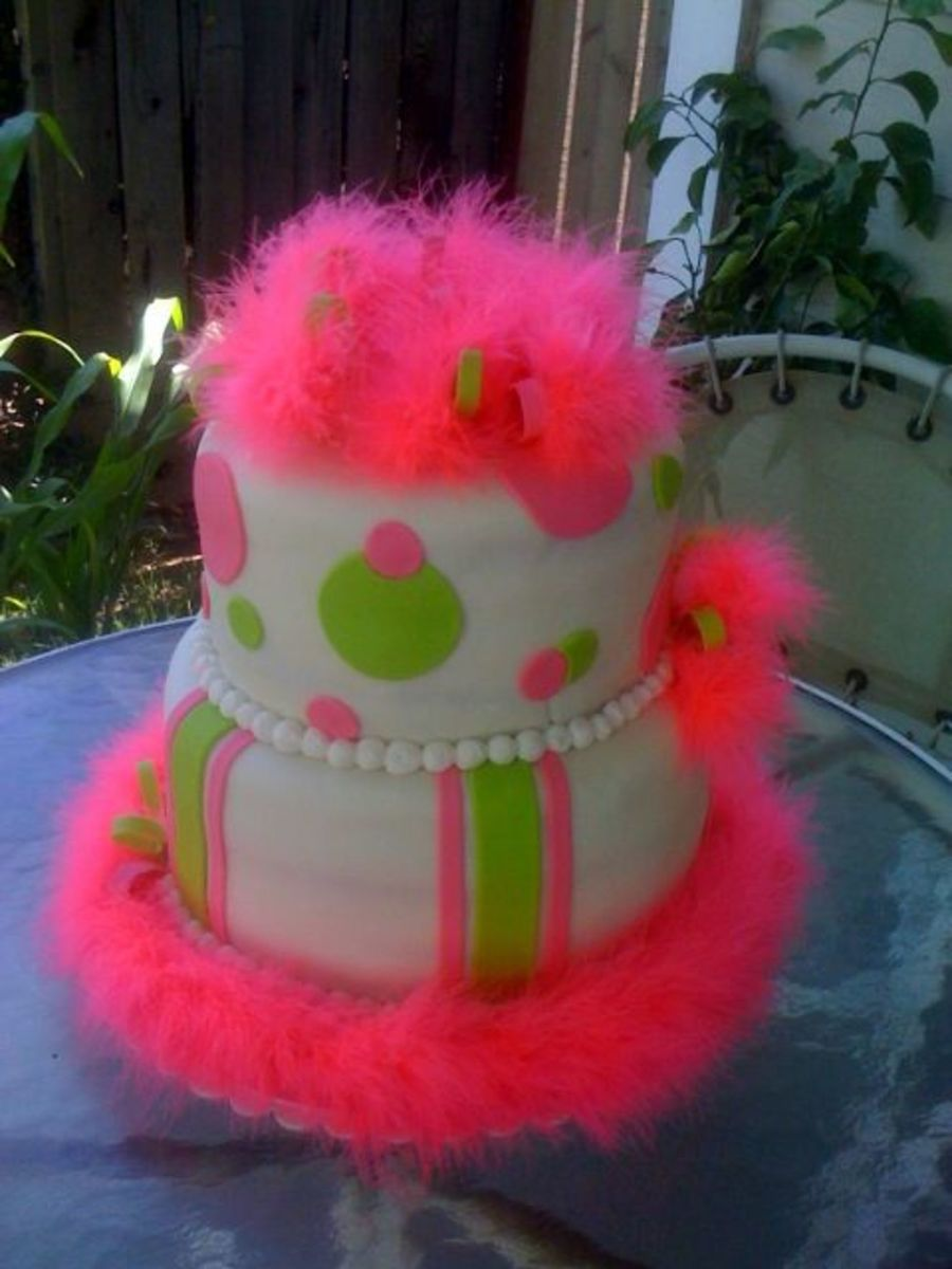Lime Green Hot Pink Fuzzy Cake on Cake Central