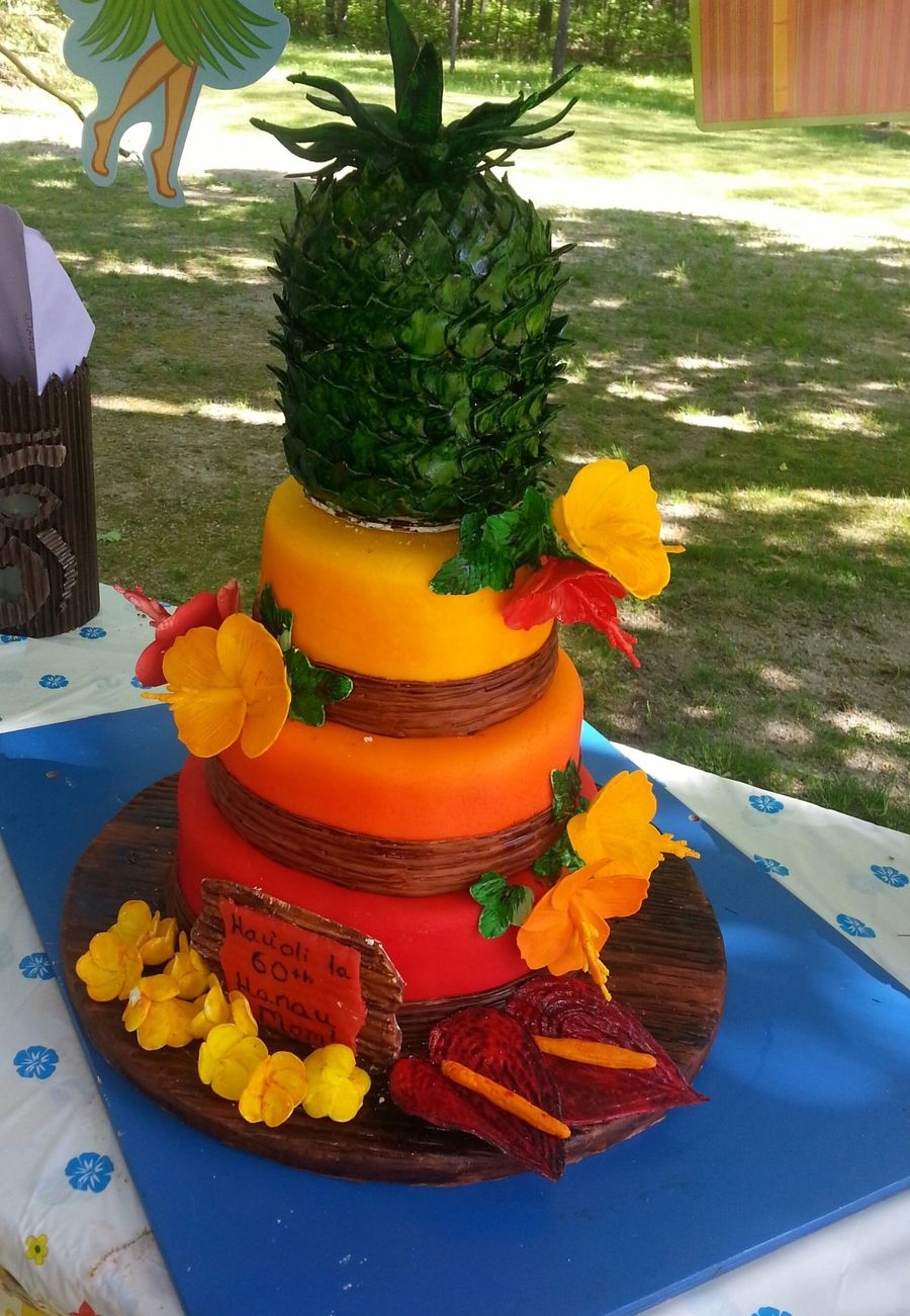 Hawaiian Theme 60th Birthday Cake For My Mom Pineapple On