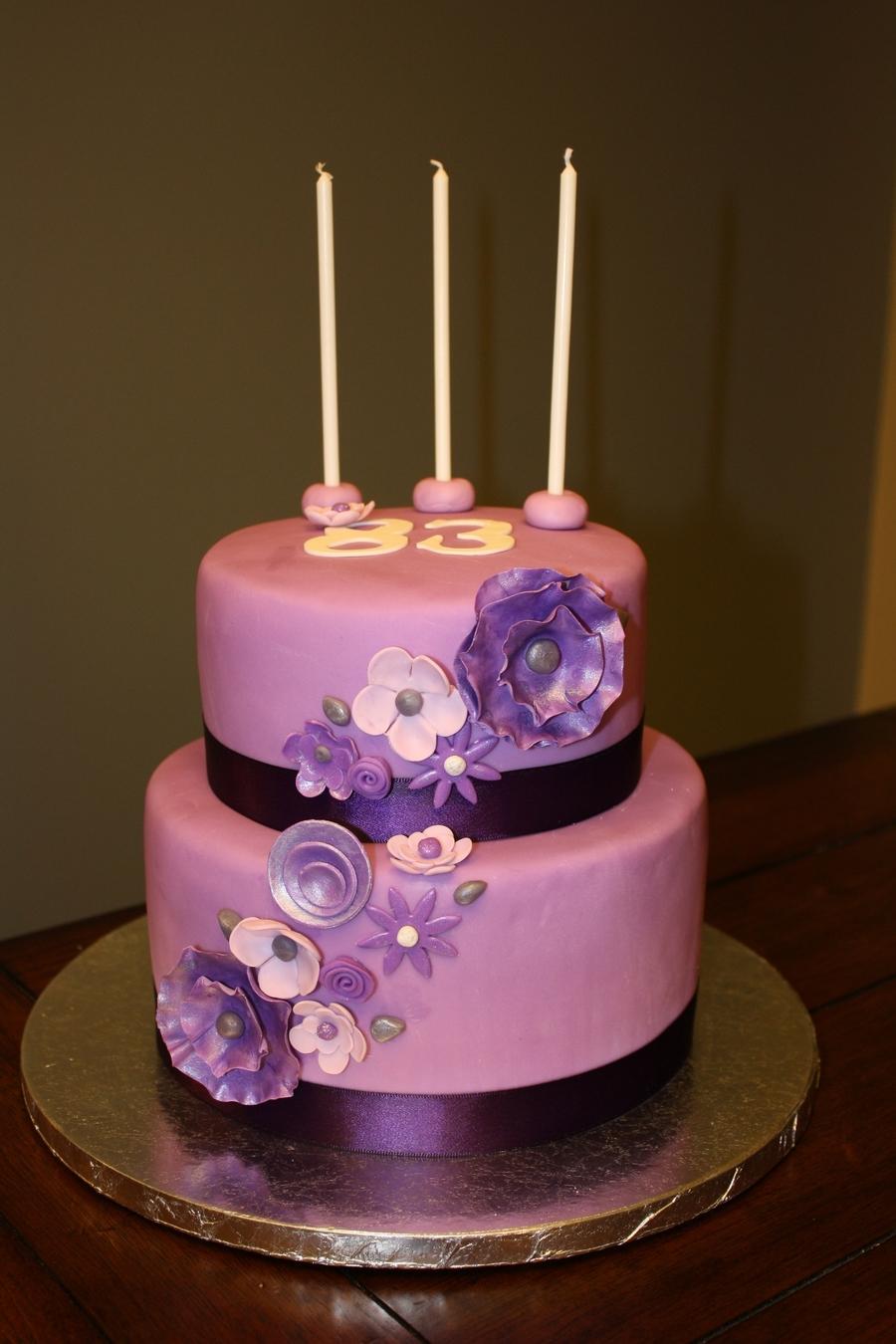 Grandma's 83Rd Purple Birthday Cake - CakeCentral.com