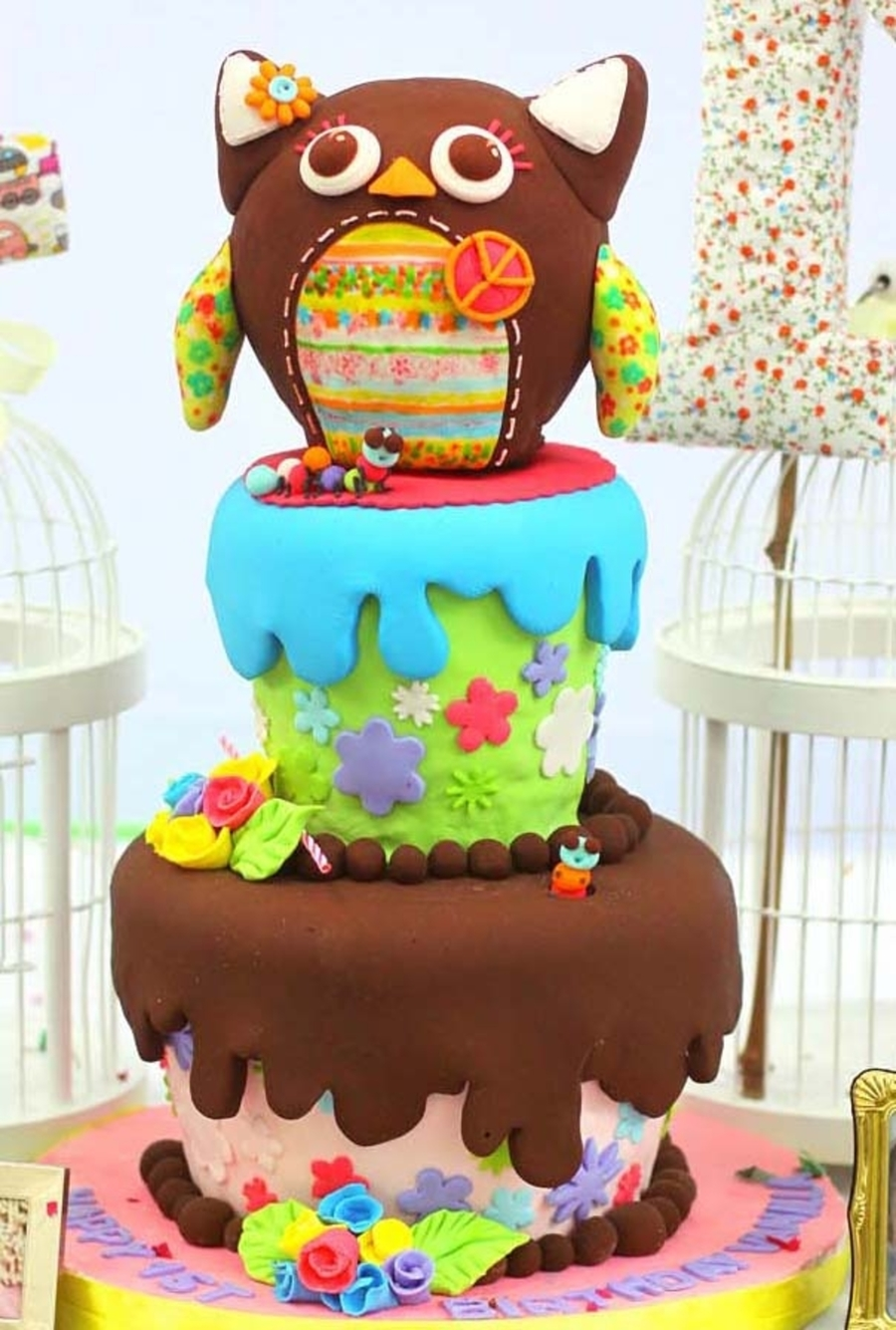 Shabby Owl Cake  on Cake Central