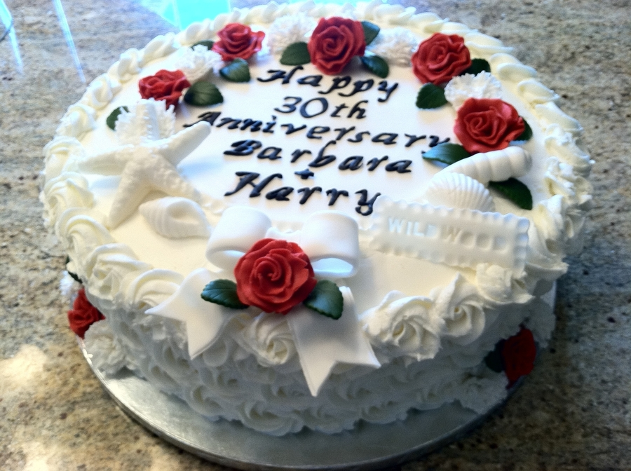 Seashells, Roses And Carnations Anniversary  on Cake Central