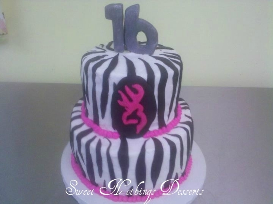 Sweet 16 Browning & Zebra Cake on Cake Central