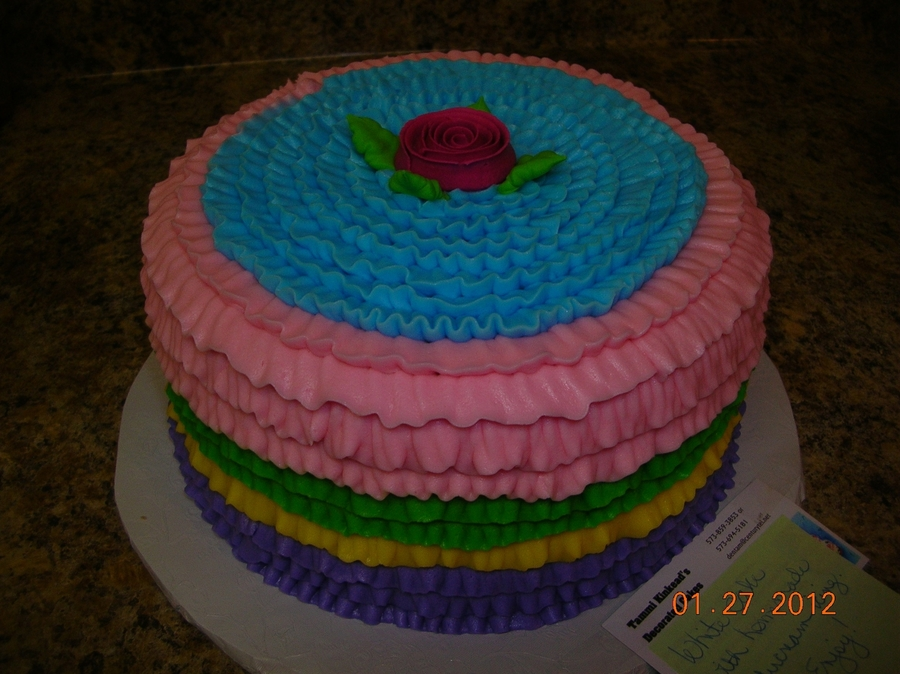 Ruffled Birthday Cake  on Cake Central