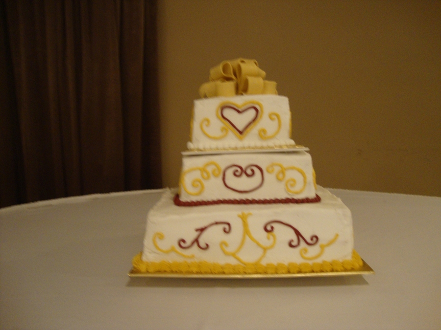 3 Tier Square Wedding Cake on Cake Central