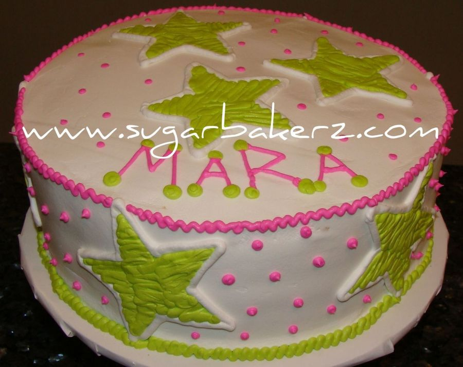 Pink With Lime Green Stars on Cake Central