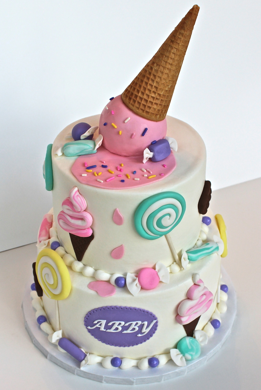 Buttercream Cake With Fondant Decorations Top Ice Cream Ball Is Rkt
