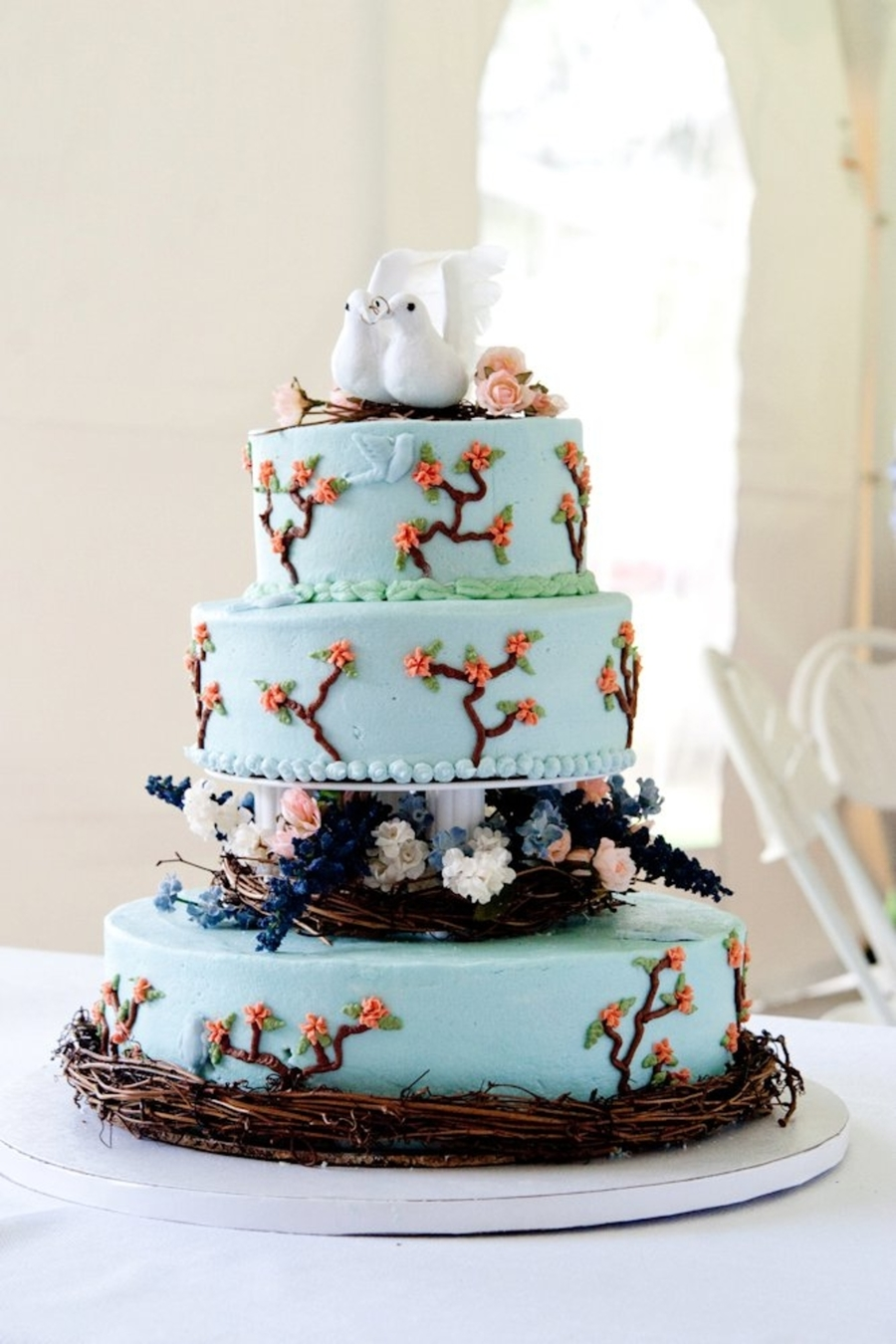 Bird/nature Themed Wedding Cake  on Cake Central