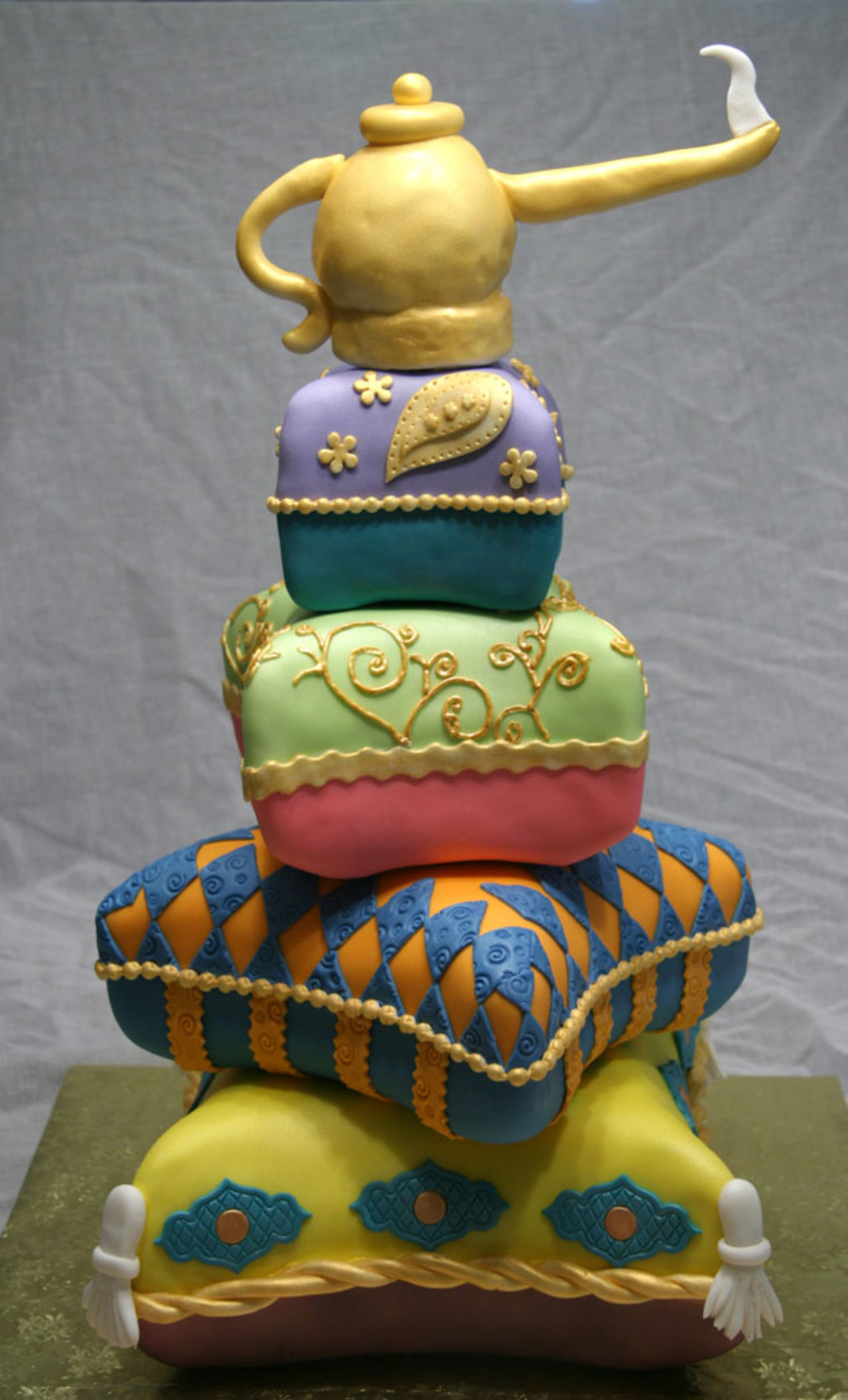 12 10 8 Amp 6 In Squares Carved Into Pillows Covered In Fondant With All Fondant Accents Lamp Made Out Of Rkt on Cake Central