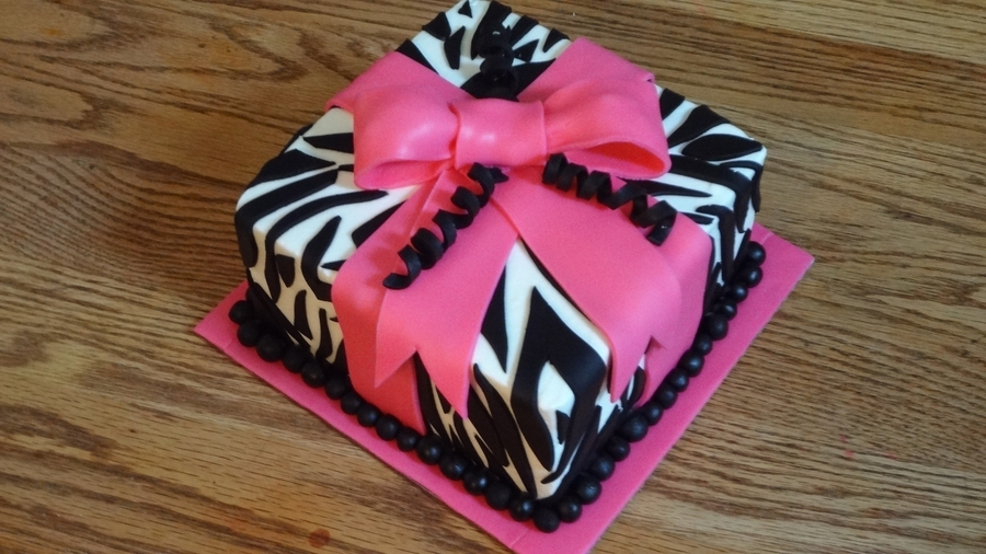 Zebra Striped Present Cake on Cake Central