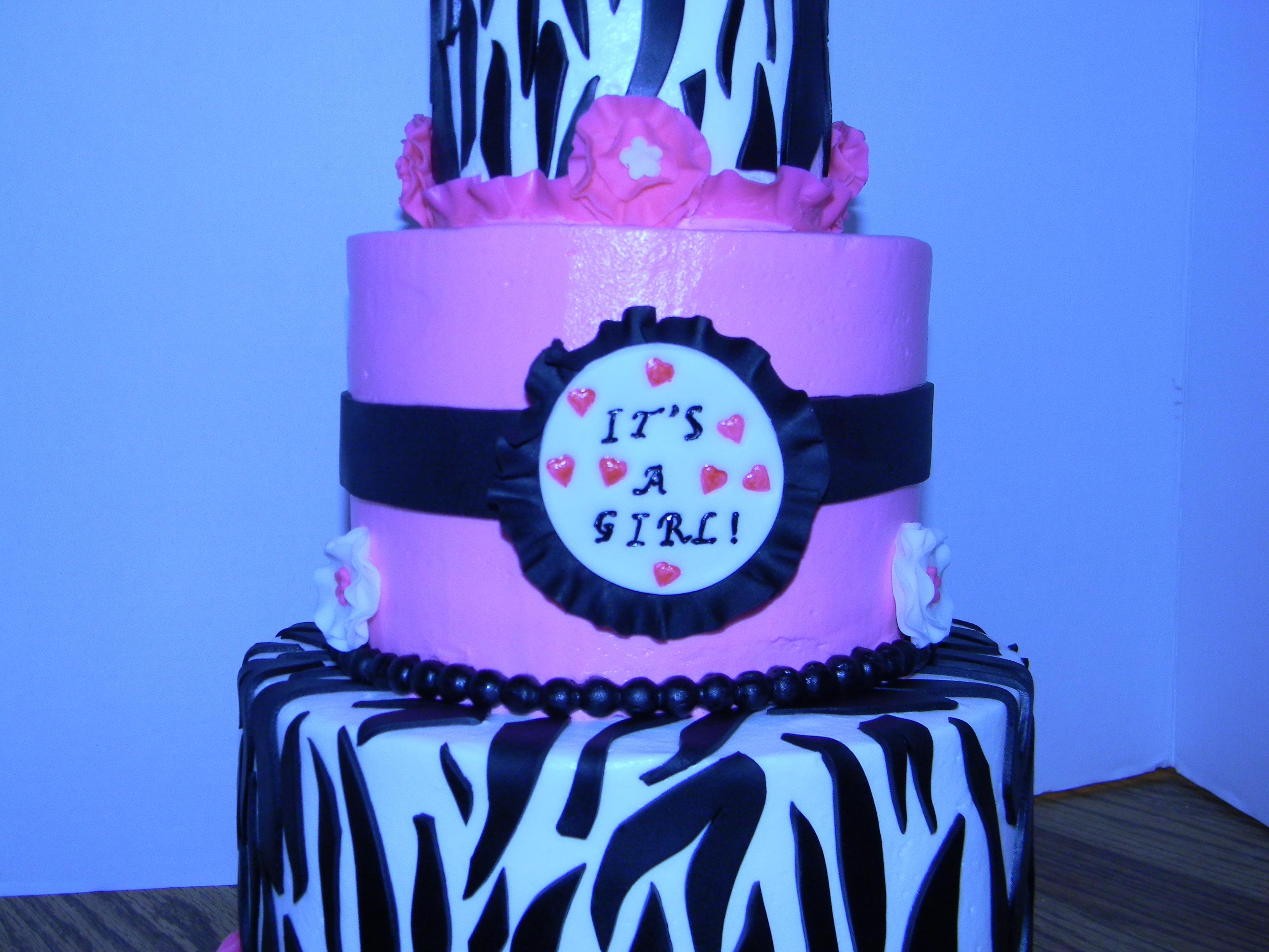 Black And White Stripe Buttercream Cake