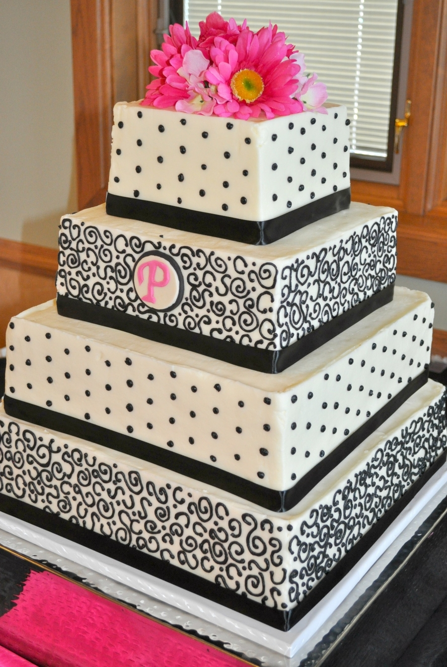 wedding cakes black white and pink black white and pink wedding cake cakecentral 23902