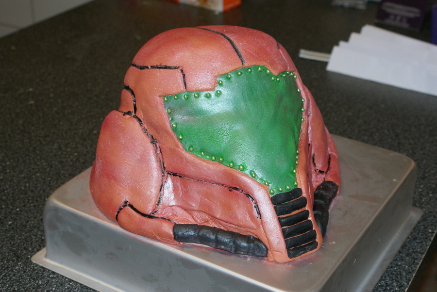 Goodies Helmet From The Wii Game Metroid Done On A Very Hot Humid Day And Did Not Go According To Plan on Cake Central