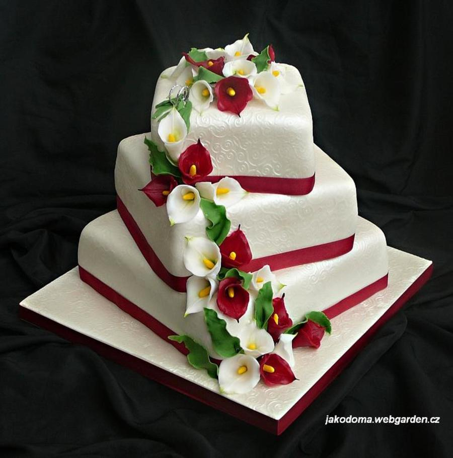 wedding cake with lilies and roses calla wedding cake cakecentral 26922