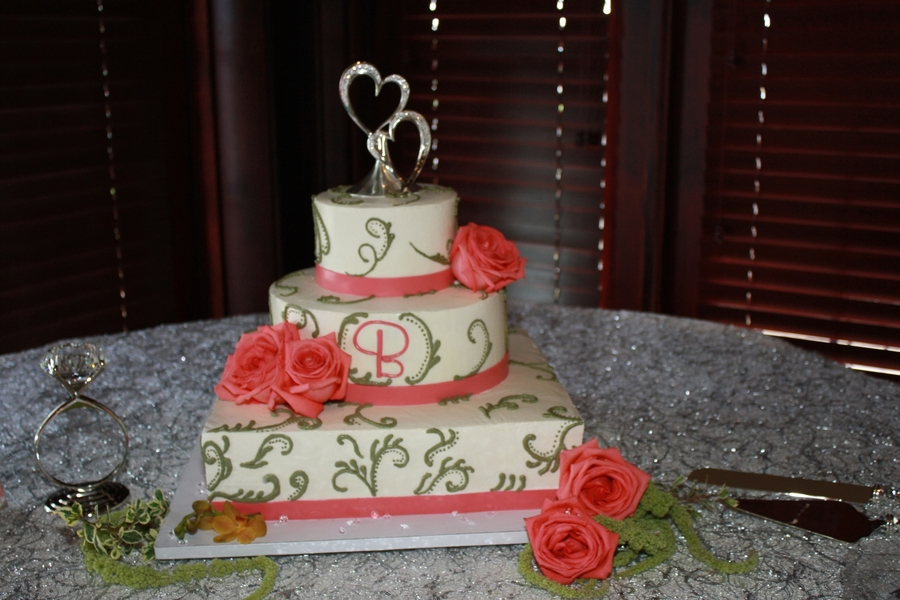 Kiwi And Coral Wedding Cake on Cake Central