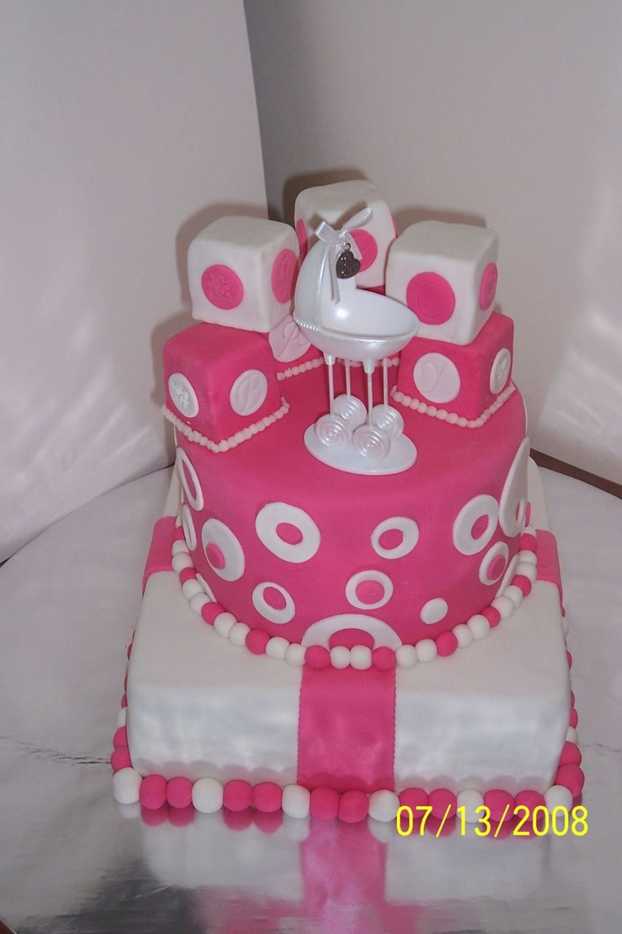 Hot Pink Baby Shower  on Cake Central