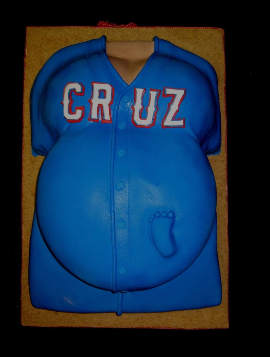 Baseball Jersey Belly Cake on Cake Central