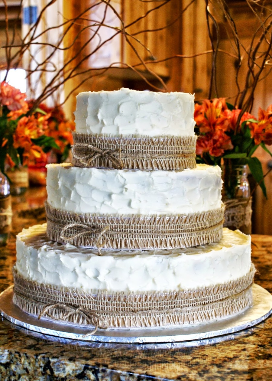 Rustic Burlap Wedding Cake on Cake Central