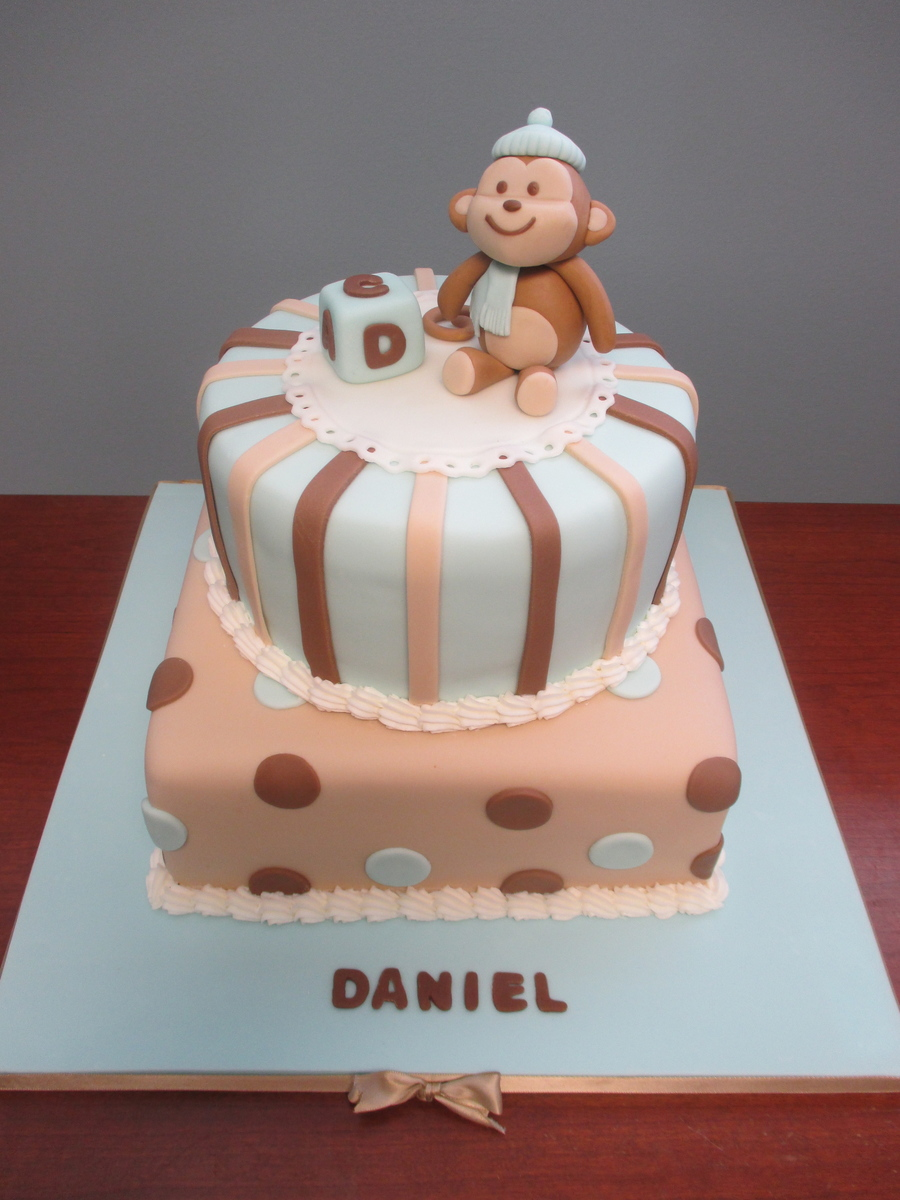 Chocolate Cake With Banana Mousse Baby Boy Shower Blue Monkey on Cake Central