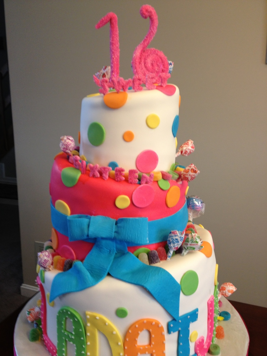 Sweet 16 Topsy Turvy Candy Cake  on Cake Central