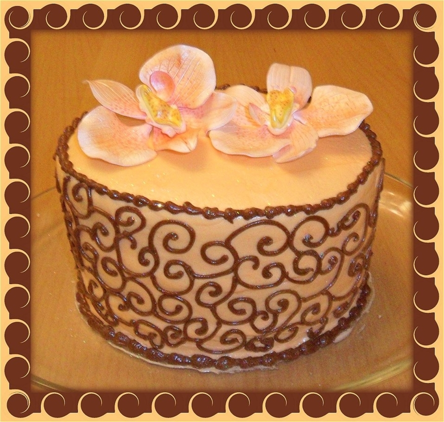 Peach And Brown Scrolls on Cake Central