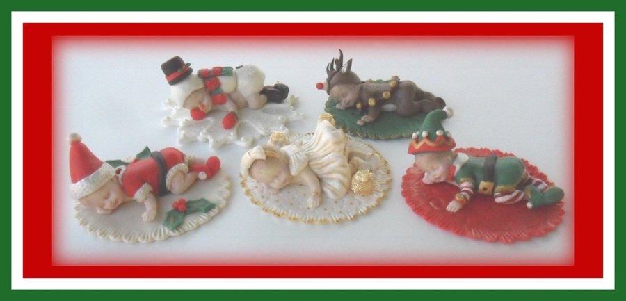 Christmas Babies Used A Mold For The Babies Then Made Fondant Outfits For Each One Santa Snowman Reindeer Elf And Christmas Dress on Cake Central