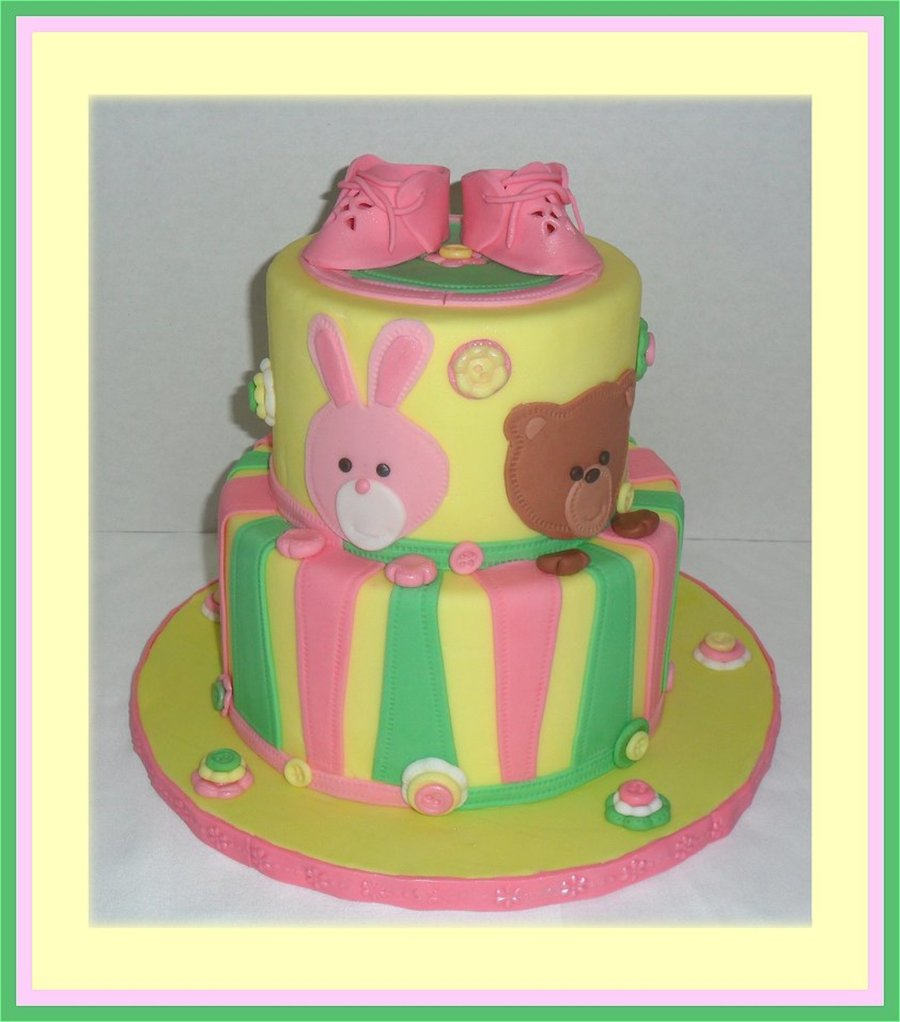 Bunny Amp Bear Baby Shower All Fondant Buttons Made From Mold Bunny Bear Stripes All Designed With Stitching Wheel Details Baby Boot on Cake Central