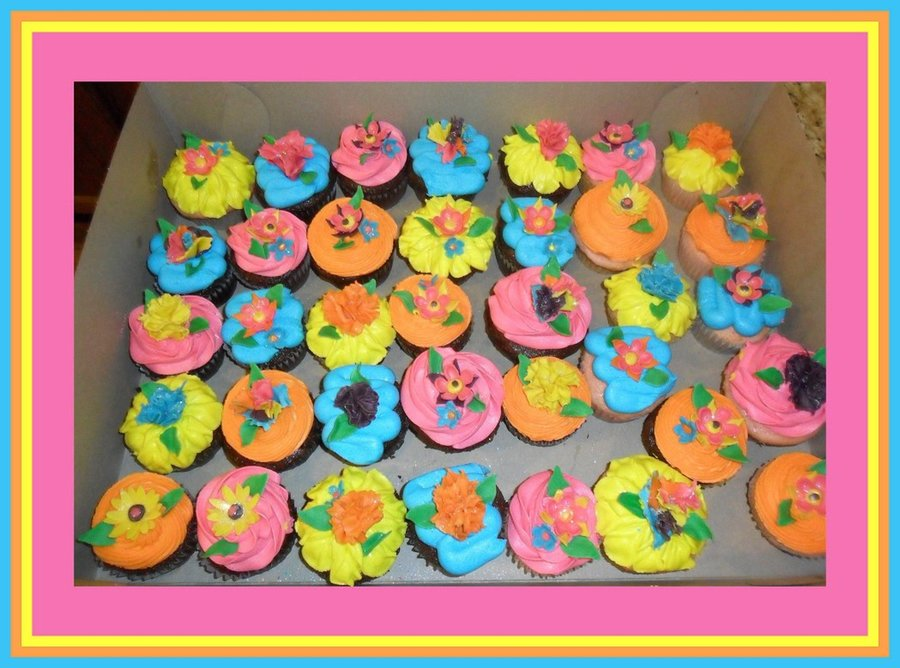 Mexican Fiesta Flower Cupcakes Fondant Flowers Made From Cutters And Hand Made Fondant Tissue Paper Flowers All Highlighted With Rainbow  on Cake Central
