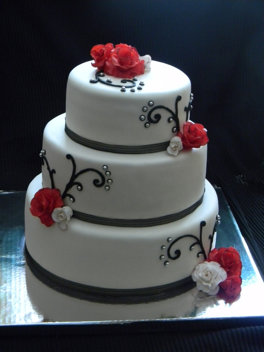 White With Black Silver Red Accents Cakecentral Com