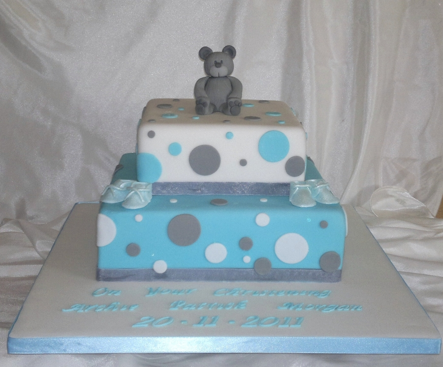 Teddy Bear Christening Cake on Cake Central