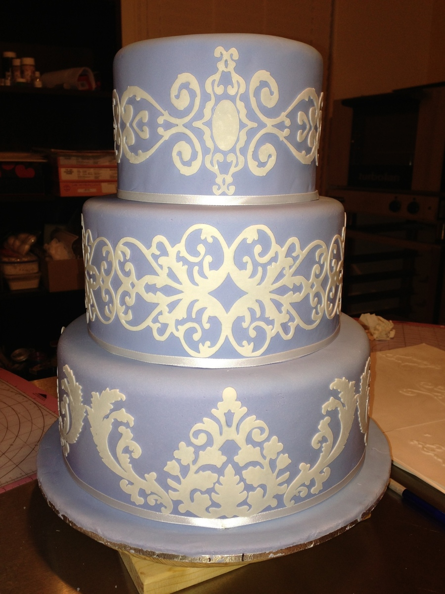 Wedgewood Blue Damask on Cake Central