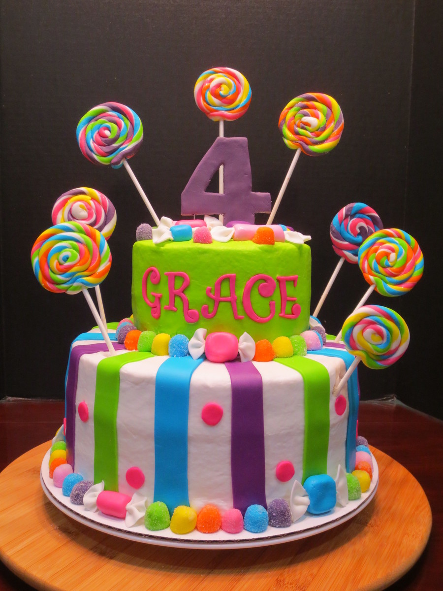 I Had So Much Fun Doing This Bright And Colorful Birthday Cake All The Accents Are Made From Mmf I Love The Lollipops And Wrapped Candy on Cake Central
