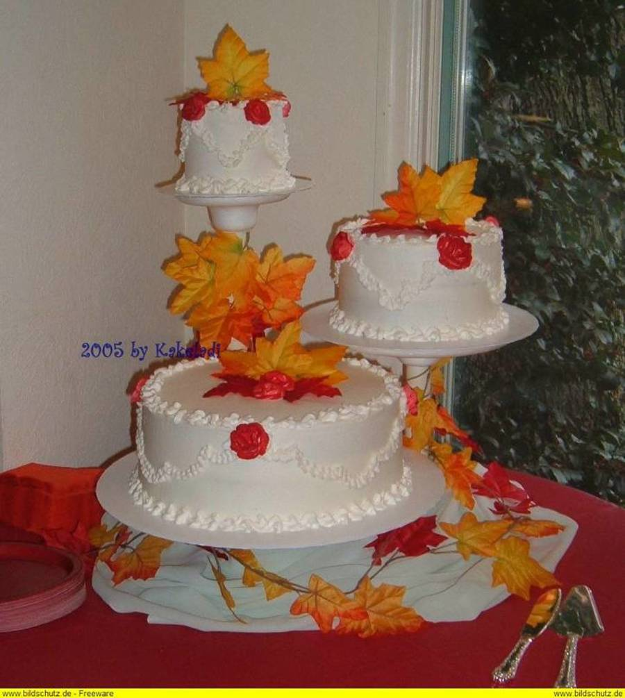 Fall Leaves Wedding  on Cake Central