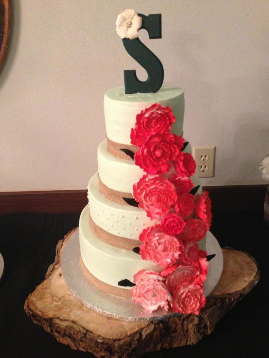 Five 5 Tier White Almond Wedding Cake With Strawberry Filling On ...