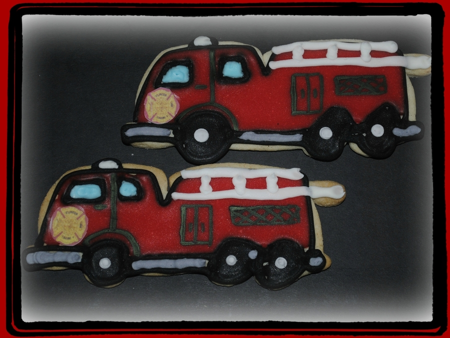 Firetruck Cookies  on Cake Central