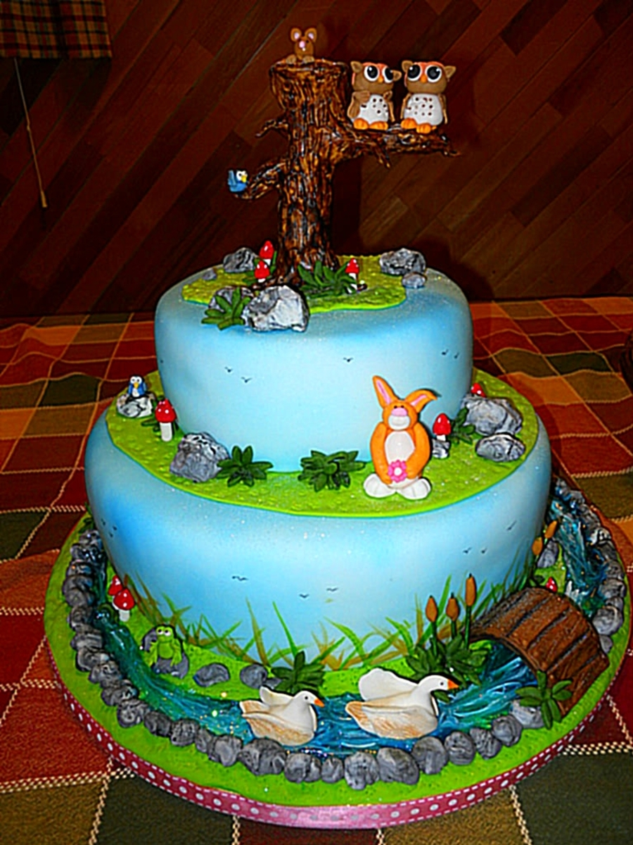 Twin Owls Enchanted Forest Baby Shower Cakecentral Com