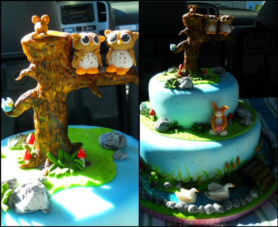 Twin Owls Enchanted Forest Baby Shower Cakecentral
