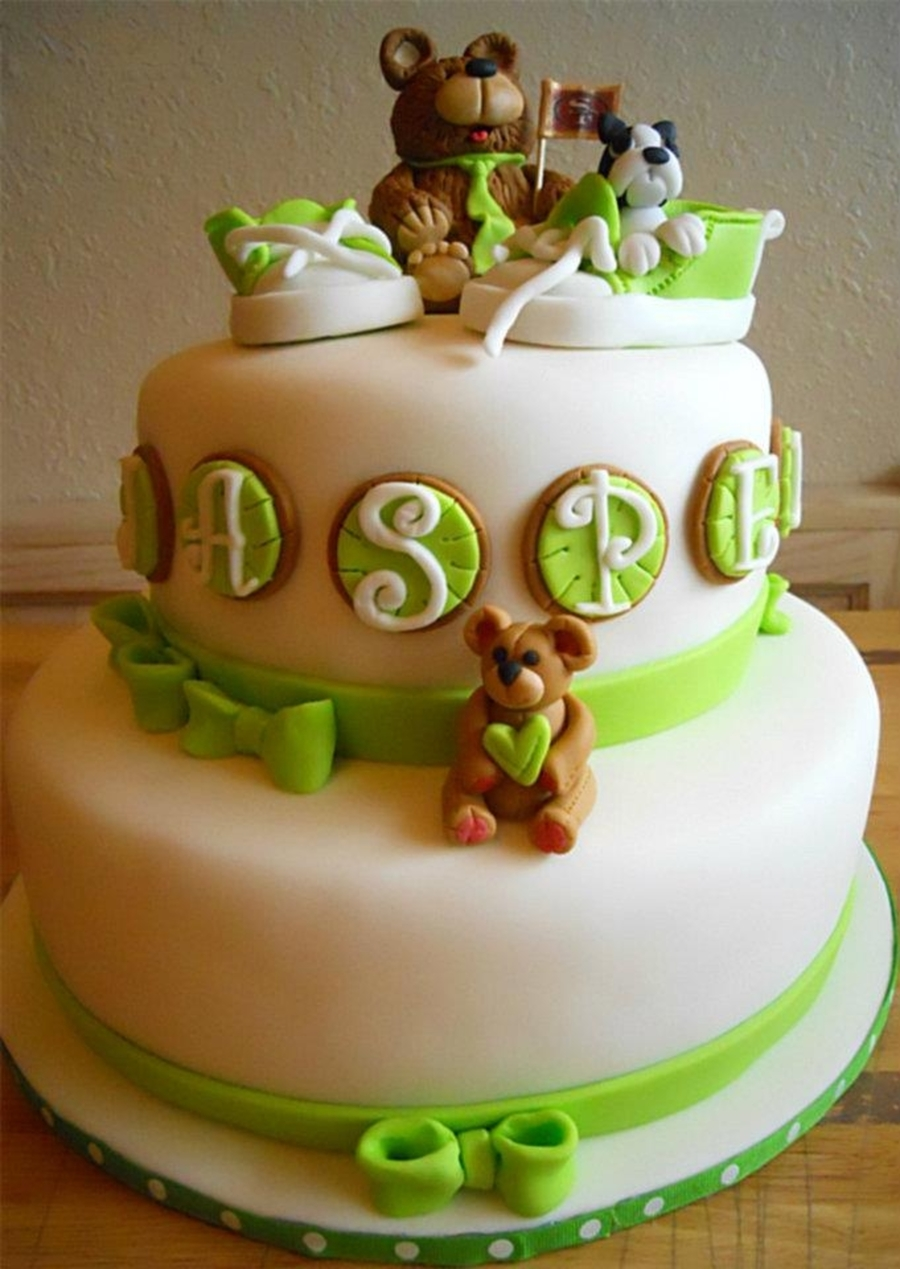 Cake Decorating Central Hours : Baby Shoes, Bears And Dog - Baby Shower Cake - CakeCentral.com