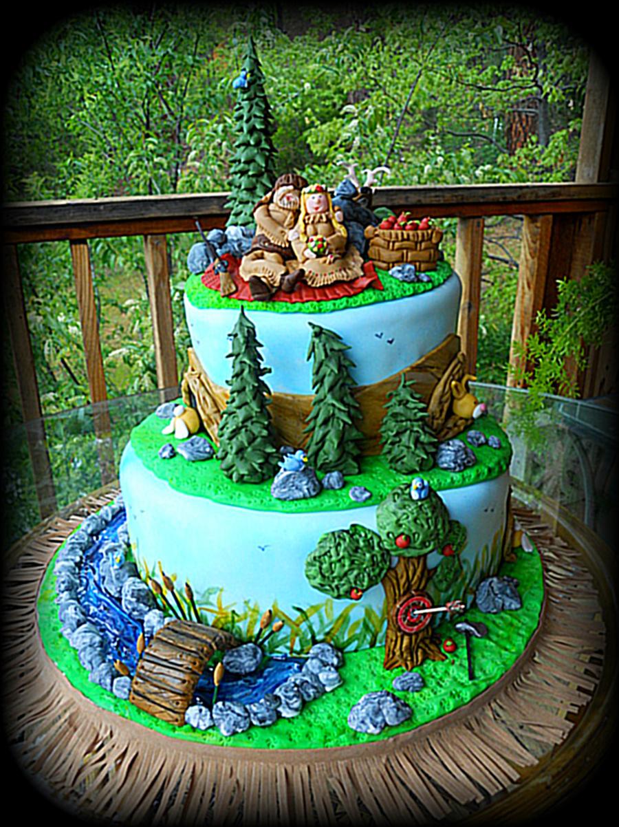 Mountain Man Theme Wedding Cake