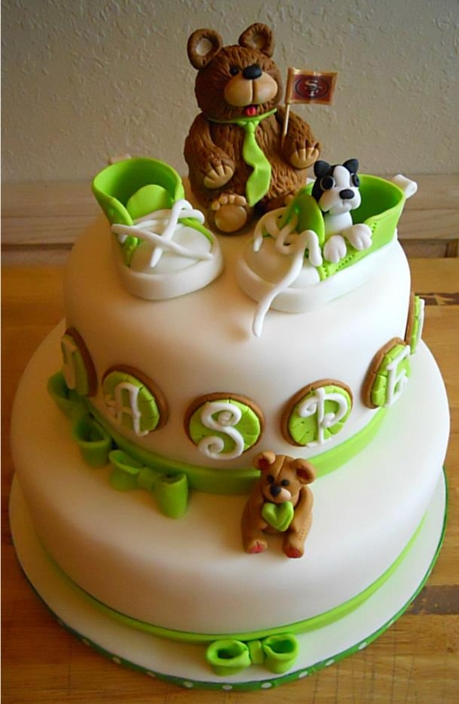 Baby Shoes, Bears And Dog - Baby Shower Cake - CakeCentral.com