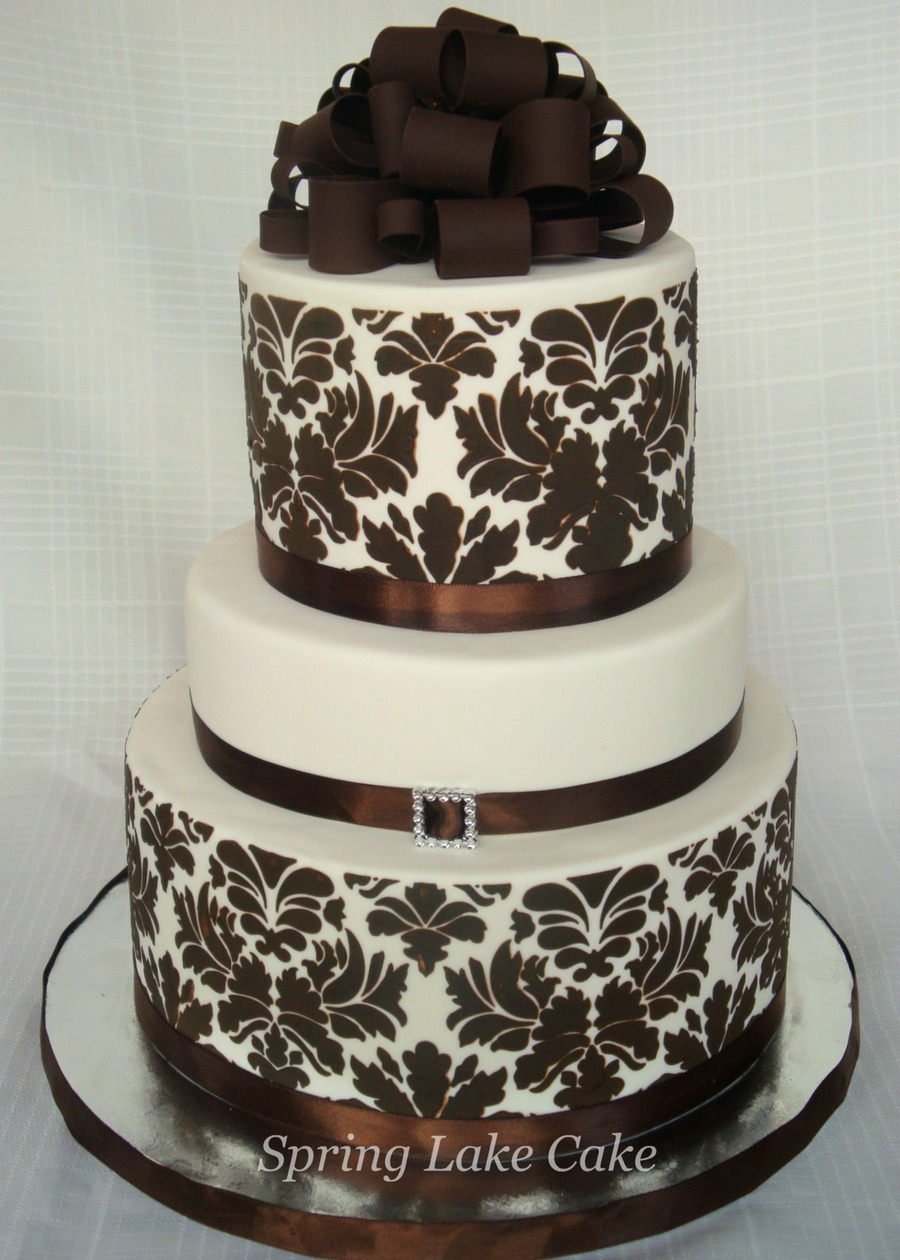 Damask Bridal Shower on Cake Central
