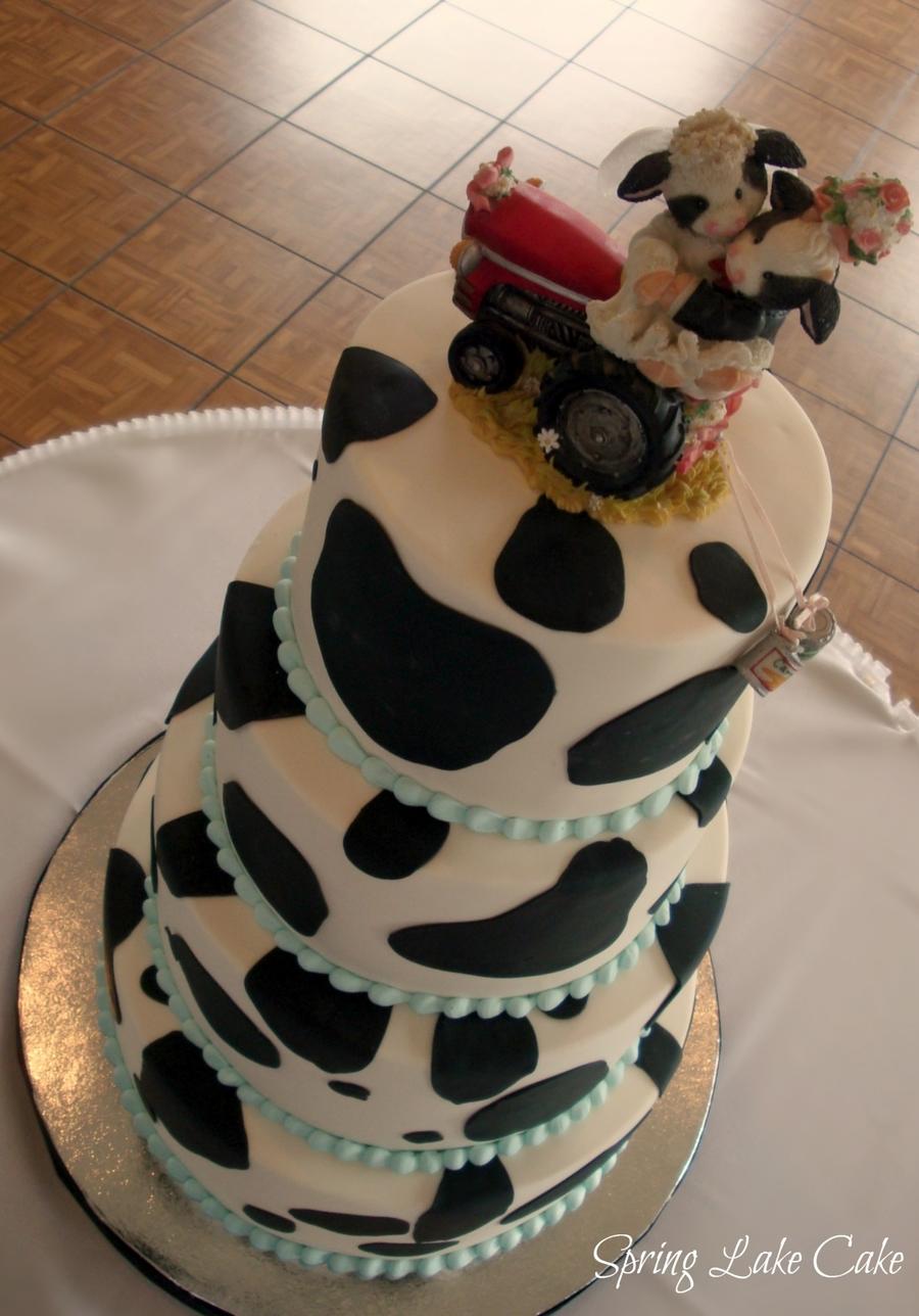 John Deere Gator >> Cow Print Wedding Cake - CakeCentral.com