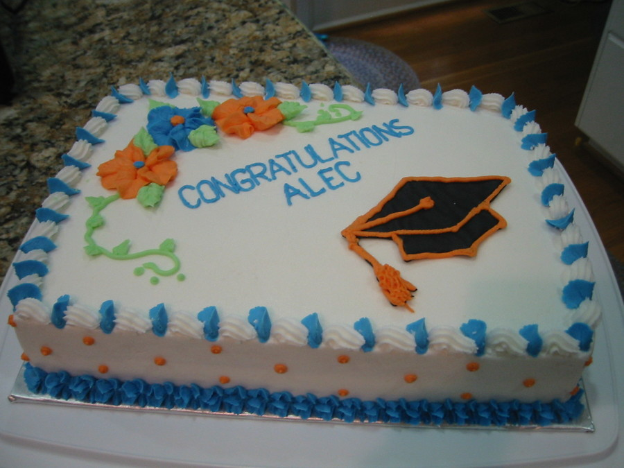 White Cake With Buttercream Icing In School Colors Of Blue And Orange on Cake Central