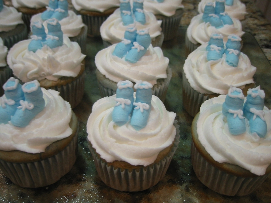 Cupcakes With Blue Baby Booties  on Cake Central