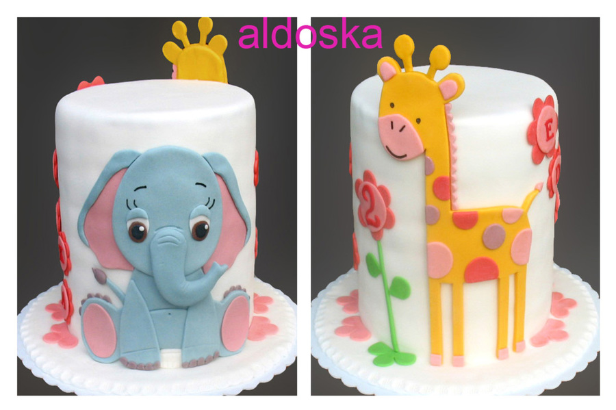 Elephant And Giraffe Cake CakeCentralcom
