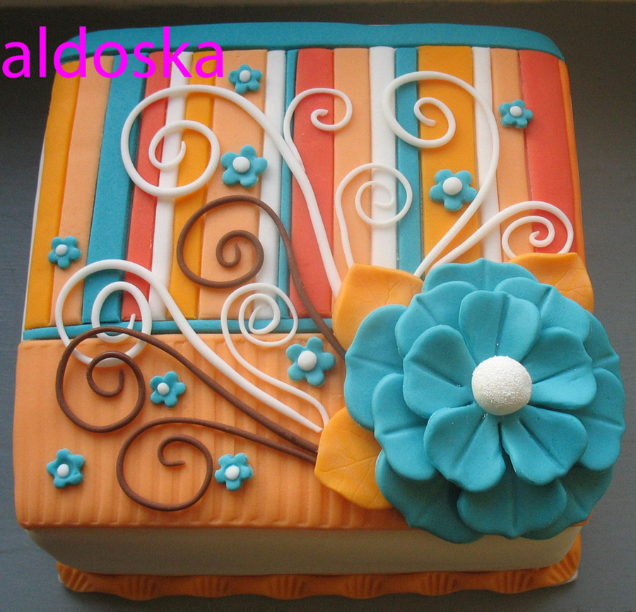 Orange & Blue  on Cake Central