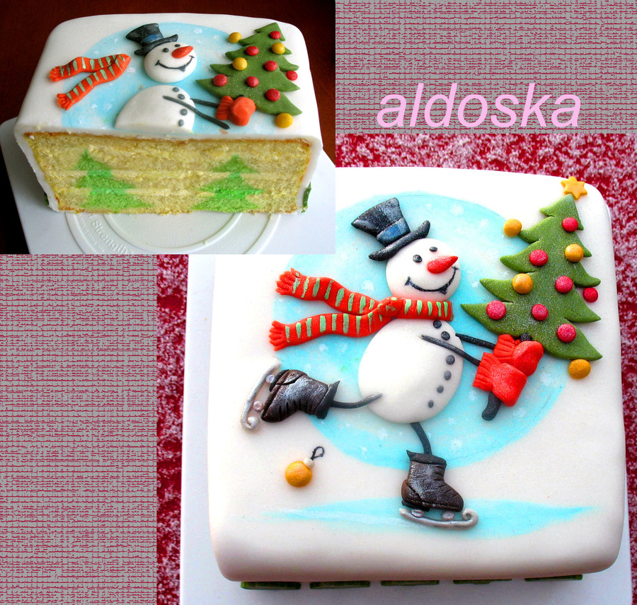 Snowman Cake With Tree Inside on Cake Central