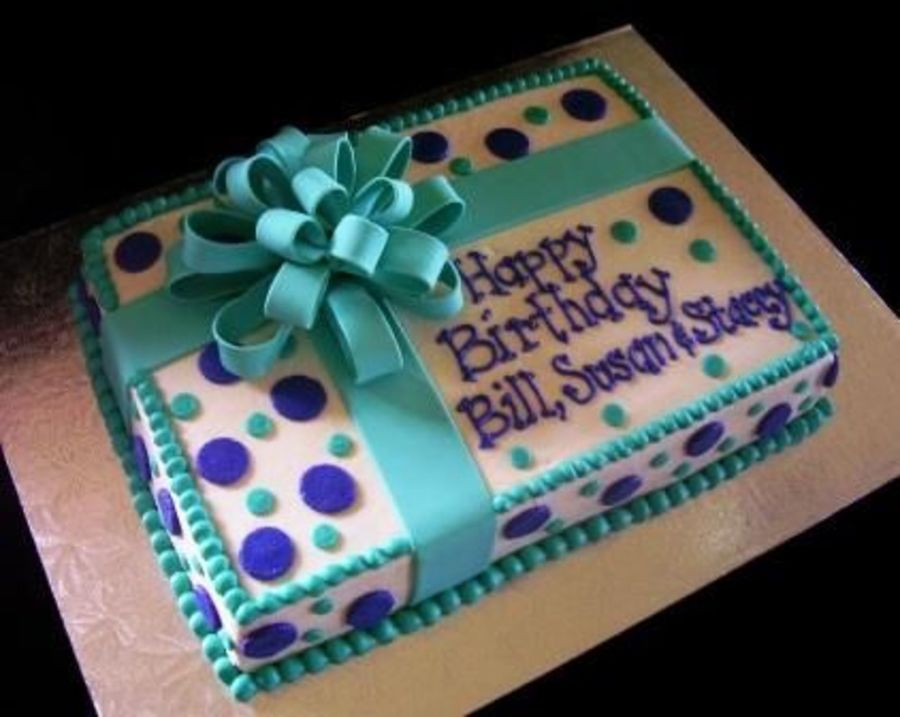 Teal & Purple Present on Cake Central