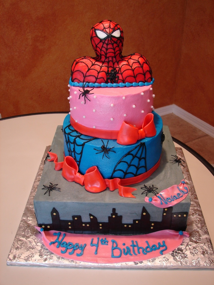 Pink Spiderman Cake  on Cake Central
